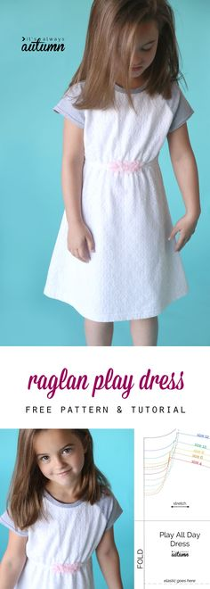 Adorable! Learn how to sew this cute raglan sleeve play dress for a little girl…