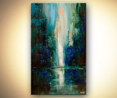 Original abstract art paintings by Osnat - vertical painting of cityscape at dawn