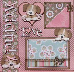 "cricut scrapbook layouts | The Avid Scrapper: ""Puppy Love"" Premade Scrapbook Pages"
