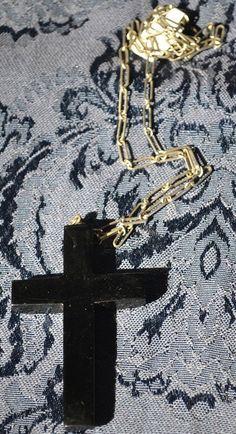 Vintage Black Bakelite Cross on Original by TwoChicksFinds on Etsy, $75.00