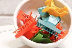 Vintage Hair Clips Set of 9 Plastic Colorful Instant by CabinOn6th, $4.00
