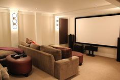 What a perfect home theater! Any man cave should be equipped with a nice screen. If you LOVE home inspiration and decor, follow @Porchdotcom for the best! We love pinning for you!