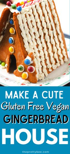 Our family loves making gluten free vegan gingerbread houses each year. Over the years I have learned what works, and what doesn't. Get all my tips and tricks! I share what pattern works best, what flour to use, how to glue it together, and what allergy friendly, dye free candies I use. Read the post to learn how to create one with your family! #glutenfree #vegan Vegan Dessert Recipes, Dairy Free Recipes, Vegan Gluten Free, Vegan Gingerbread, Gingerbread Houses, Holiday Cookie Recipes, Holiday Baking, Vegan Christmas, Christmas Treats