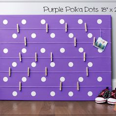 A beautiful way to display your cards and memos and decorate any room. This display board can be hanged in a dorm, kids room, teens room, office, kitchen, family space and more. Personalization option. 10 design options. Hand painted canvas with wooden clothespins. #giftforher #Bulletinboard #cardsdisplay #pinkdot #dotroom #polkadot #purpleroomdecor #girlsroom #giftforgirl #teensroom #officeorganizer #memoholder #homeorganizer #personalizedgift #giftforteens #christmasgift #hannukahgift Bulletin Board Design, Bulletin Boards, Unique Gifts For Kids, Bat Mitzvah Gifts, Name Wall Art, Last Minute Christmas Gifts, Hanukkah Gifts, Baby Room Art, Kids Room Organization