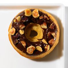 Chocolate-Hazelnut Donut    Ingredients: Doughnuts, bittersweet chocolate, chopped hazelnuts