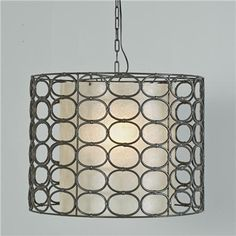 Oval Ring Drum Shade Pendant - Gunmetal Gray 60 watts. (16Hx21W)  Product SKU: PE09066 GY Price:  $419.00