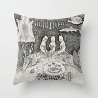 Throw Pillows by Ulrika Kestere | Cats Knit while fish fry