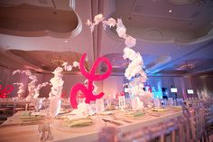 Pink & White Bat Mitzvah Party with Paper Flowers & Letter Centerpieces by Bliss Events - mazelmoments.com