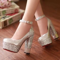Spring and autumn women's shoes white gold bridal shoes wedding shoes bridesmaid shoes bandage ultra high platform heels thick