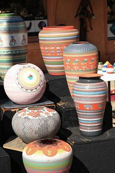 "Santa Fe Pottery. Native American crafts for sale on the streets of Santa Fe, New Mexico.  ""The Fine Art Photography of Frank Romeo."""