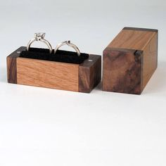 Double Ring Box Walnut Cherry Wood Ring Bearer Pillow Box