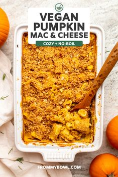 This No-Boil Baked Pumpkin Mac & Cheese with Sourdough Rosemary Breadcrumbs is the perfect fall comfort food! With only 10 minutes of prep time, it's great for a busy weeknight. It's an upgraded mac & cheese with a seasonal touch. Try it out this week! Quick Pasta Recipes, Vegetarian Pasta Recipes, Best Dinner Recipes, Delicious Vegan Recipes, Healthy Recipes, Clean Recipes, Vegan Pumpkin, Baked Pumpkin, Cheesy Broccoli Rice Casserole