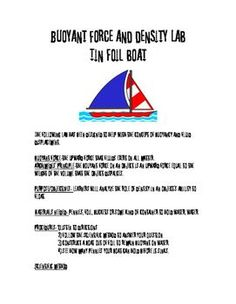 STEM-Tin Foil Boat Lab-Archimedes' Principle.Fun and easy lab to reinforce…