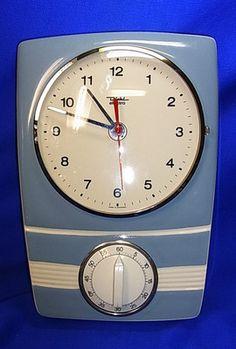 Mid Century Diehl Wall Clock Electric German with Egg Timer Old Clocks, Vintage Clocks, Vintage Vignettes, Mid Century Decor, Mid Century House, Vintage Kitchen, Retro Vintage, Egg Timer, Kitchen Clocks