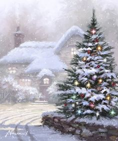 snowy Christmas tree with lights by Richard Macneil Snowy Christmas Tree, Christmas Scenery, Christmas Past, Christmas Balls, Christmas Pictures, Christmas Lights, Vintage Christmas, Christmas Wreaths, Christmas Decorations