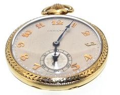 Antiguo Vintage sólido 14K amarillo oro Hamilton abierto cara reloj de bolsillo: excelente estado