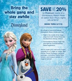 Save up to 20% on Premium rooms at a Disneyland Resort Hotel on select Sunday – Thursday nights April 5 – June 16, 2015! Book thru 5/7/15. Contact us today for a  quote! admin@thewdwguru.com or 877-825-6146