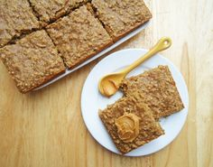 Peanut Butter Banana Oatmeal Squares  Ingredients:  11/2 cup of quick cooking oats  1/4 cup packed light brown sugar  1 tsp baking powder  1/2 teasp salt  1 tsp ground cinnamon  1 tsp vanilla extract  1/2 cup milk (I'd use rice milk or skim)  1 egg  1 banana  1/4 cup creamy peanutbutter