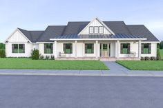 This modern farmhouse plan is full of style and charm with a welcoming front porch. Questions? Call 1-888-447-1946 today. #architect #architecture #buildingdesign #homedesign #residence #homesweethome #dreamhome #newhome #newhouse #foreverhome #interiors #archdaily #modern #farmhouse #house #lifestyle #design #buildersareessential Modern Farmhouse Plans, Country Farmhouse, Contemporary Style Homes, House Siding, Exterior Remodel, Country Style Homes, Next At Home, Building Design, Floor Plans