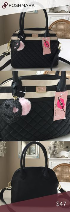 "Betsey LB ROSIEE Satchel Black quilted bottom & black & white stripe top. Pink Pom Pom & charm. 5.5"" handle drop, detachable shoulder strap is adjustable, being 27"" at shortest & 54"" @ longest. Inside zip pocket & cell pocket  & 2 lipstick holders & 1 pen holder. NWT Betsey Johnson Bags"