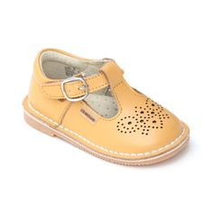 ab9946d2a95aa6 L Amour Medallion T-Strap Leather Stitch Down Mary Janes
