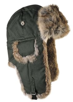 Moss Green Waxed Cotton Bomber with Brown Fur