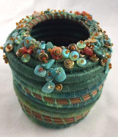 Items similar to Embellished Turquoise Pine Needle Basket by Marcie Stone on Etsy Rope Basket, Basket Weaving, Basket Bag, Pine Needle Crafts, Craft Museum, Pine Needle Baskets, Fabric Bowls, Pine Needles, Sisal