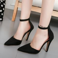 Simple Low Cut Ankle Wrap Stiletto High Heels Party Shoes from Eoooh❣❣ - Schuhe Evening Shoes Low Heel, Low Heel Shoes, Shoes Heels, High Shoes, Dress Shoes, Buy Shoes, Dress Outfits, Dresses, Black High Heels