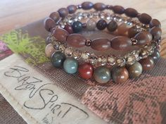 Stacking Bracelets Stretch Bracelets Women's by BlazonSpirit Stacking Bracelets, Crystal Bracelets, Jasper Stone, Stretch Bracelets, Stretches, Spirit, Bronze, Boho, Beads