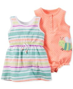 Carter's Baby Girls' 2-Piece Dot Romper and Stripe Dress Set