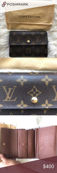 Authentic Louis Vuitton Monogram Wallet Excellent Condition. Comes with box and dust bag. This was bought from an Instagram reseller, however I don't find myself using it often. (I'm trying to get a picture of the date code as it is very hard to photograph in this wallet. Louis Vuitton Bags Wallets