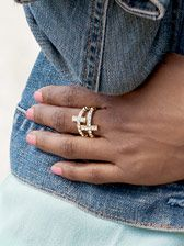 Sparkling Cross Ring Set, genuine crystal, stretch rings, one size fits most, set of 2, $29.