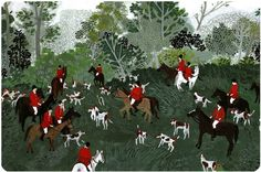Fox Hunt by Becca Stadtlander a digital print of an original gouache painting printed on enhanced matte archival paper prints come wrapped in a clear protective sleeve appx. inches on paper. Pattern Illustration, Graphic Design Illustration, English Christmas, Fox Hunting, The Fox And The Hound, Boxing Day, Naive Art, Gouache Painting, Becca