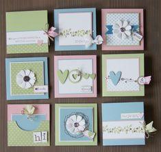 Lindos modelos de minis cartões usando material de scrapbook. Simples e fáceis de fazer, vão te ajudar naquela hora que a inspiração não vem.