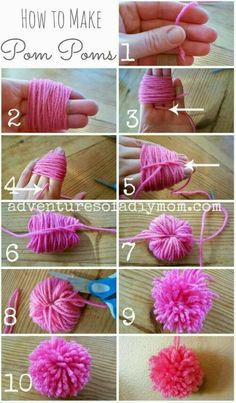 Learn how to make pom poms from yarn. You don't need any fancy tools, just some yarn, your fingers and some scissors. pom Craft How to Make Pom Poms from Yarn Kids Crafts, Diy And Crafts, Arts And Crafts, Diy Crafts With Yarn, Kids Diy, Diy Projects With Yarn, Diy Crafts For Your Room, Diy Crafts For Bedroom, Diy Crafts For Teen Girls