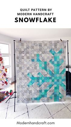 Scrappy Aqua Version of my Snowflake Quilt Pattern. This modern winter quilt is . Scrappy Aqua Version of my Snowflake Quilt Pattern. This modern winter quilt is a fun pattern to sew and you can keep it. Modern Quilting Designs, Modern Quilt Patterns, Quilt Block Patterns, Quilting Stitch Patterns, House Quilt Patterns, Modern Quilt Blocks, Beginner Quilt Patterns, Block Quilt, Patchwork Patterns