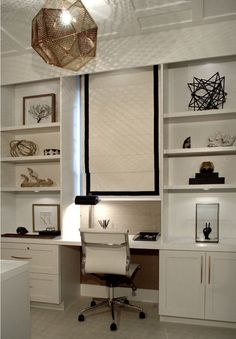 This elegant white study was completed by Alicia Kingsley Design. #luxeFL