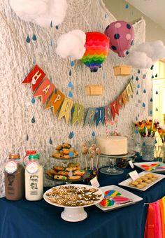 "Photo 12 of 19: Hot Air Balloon/Sky / Birthday ""Rainbow Hot Air Balloon 1st Birthday"" | Catch My Party"
