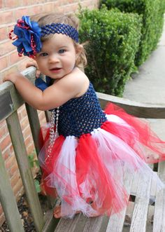 Patriotic Halloween Red White and Blue by HandpickedHandmade on etsy! Baby Girls Tutu Dress set Parade outfit party dress Fouth of July, 4th of July, Memorial Day, Labor Day, Troops Coming Home, Long Tutu Dress. Mommy Daughter Matching Set available