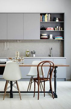 esszimmertisch stühle graue einrichtung küche