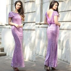 2017 Shinning Backless Sequined Long Party Bridesmaid Dress