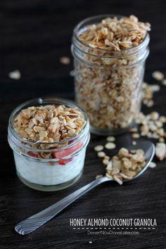 Honey Almond Coconut Granola on MyRecipeMagic.com #homemade #Granola #honey #almond #coconut