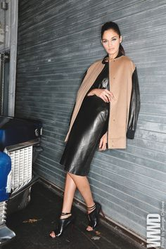 Fall 2013 Trend: Cool Rider Priory of Ten's wool and leather jacket and leather dress.