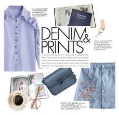 """""""Denim&prints"""" by punnky ❤ liked on Polyvore featuring Haute Hippie and Linda Farrow"""