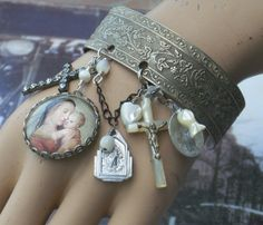 angels and mother of pearl - great idea with a bangle or cuff bracelet that you dont wear anymore - this adds so much interest and style.