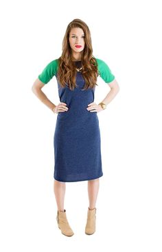 """Great piece that can be dressed up or down and the midi length is fabulous! Looks amazing with metallic accessories! """"Camille"""" Raglan Sleeve Modest Midi Dress in Heather Navy Blue/Green"""