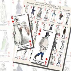Images,Digital,Stickers,Collage,Illustration,jane austen,pride and prejudice,domino,dominoes,la belle assemblee,regency fashion,playing cards