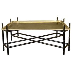 Mid 20th Century Brass and Faux Bamboo Tray Table | From a unique collection of antique and modern coffee and cocktail tables at http://www.1stdibs.com/furniture/tables/coffee-tables-cocktail-tables/