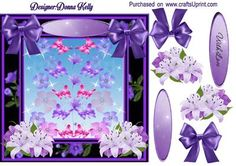 Purple butterfly With Love card front on Craftsuprint designed by Donna Kelly - Pretty butterflies and flowers are the center of this delicate card, approx 7x7. Includes decoupage and two sentiment tags, one blank. Sentiment is With Love - Now available for download!