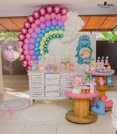 Ooh this care bear display is TOO cute! Bird Birthday Parties, First Birthday Party Themes, Fun Party Themes, Rainbow Birthday Party, Birthday Balloons, Birthday Party Decorations, Care Bear Birthday, Care Bear Party, Birthday Cartoon